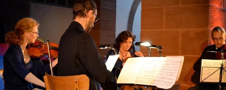 Le Quatuor Florestan, avec Sylvie Brenner et Philippe Lindecker, violons, Agnès Lindecker, violoncelle et Roland Cheney, alto, le 22 septembre 2013 à l'église Saint-Adelphe de Neuwiller-lès-Saverne